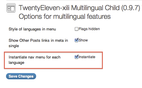Theme multilingual Options
